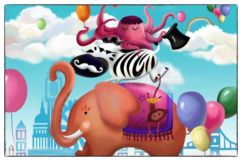 Illustration: Lyckligt djurt vänkort Elefanten, sebran, bläckfisken royaltyfri illustrationer