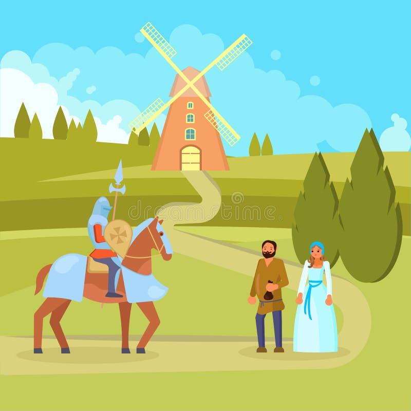 Illustration médiévale de vecteur de paysans de chevalier de scène illustration de vecteur