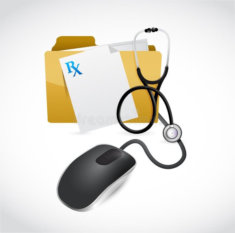Illustration médicale de concept d'ordinateur de dossiers illustration stock
