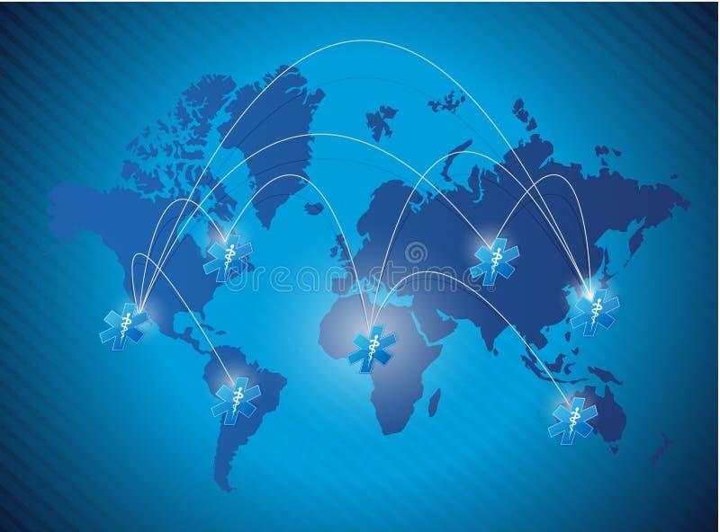Illustration médicale de réseau de carte du monde illustration libre de droits