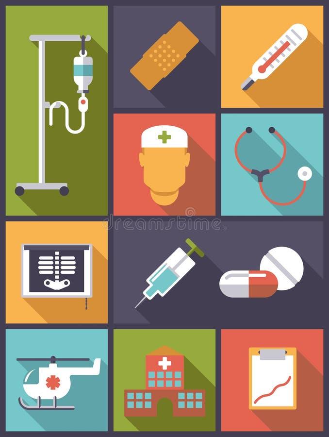 Illustration médicale et de soins de santé d'icônes de vecteur illustration stock