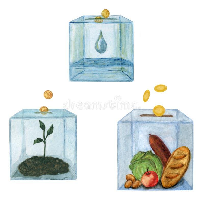 Illustration métaphorique de la charité - ensemble de tirelires pour la donation - illustration peinte à la main d'aquarelle illustration libre de droits
