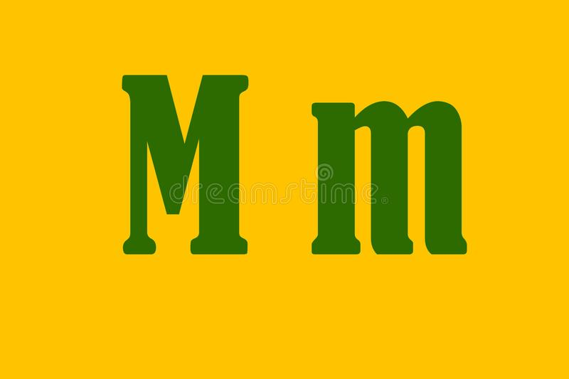 Illustration of the `m` letter drawn with a green tonality royalty free stock images