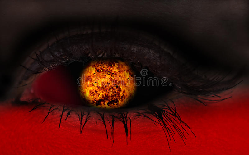 Illustration of magic eye with fire ball. Flame royalty free stock images