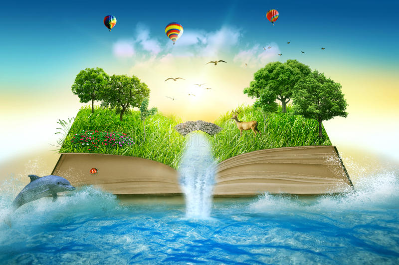 Illustration magic opened book covered with grass trees waterfall. Illustration of magic opened book covered with grass trees and waterfall surround by ocean