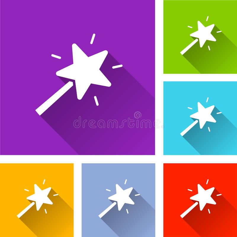 Magic wand icons with shadow royalty free illustration