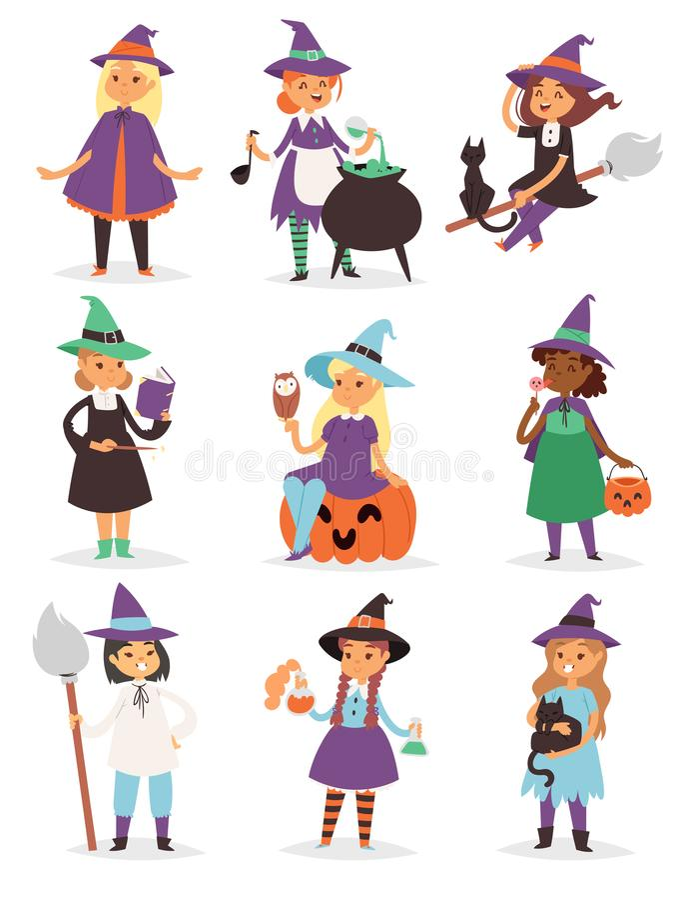 Illustration magique de vecteur de chapeau de costume de caractère de petite de Halloween de sorcière de fille de harpie bande de illustration libre de droits