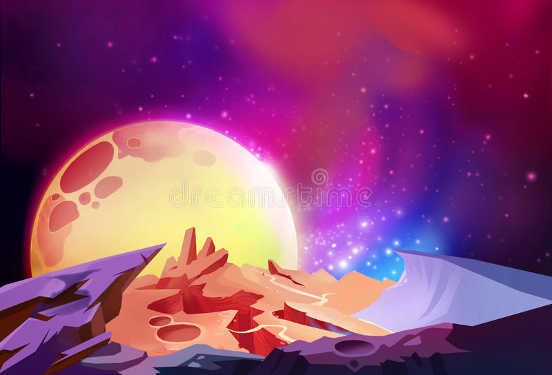 Illustration: The Magnificent Cosmos Wonders on a Alien Planet. royalty free illustration