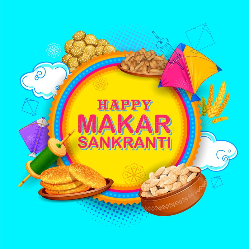 Makar Sankranti wallpaper with colorful kite for festival of India stock illustration
