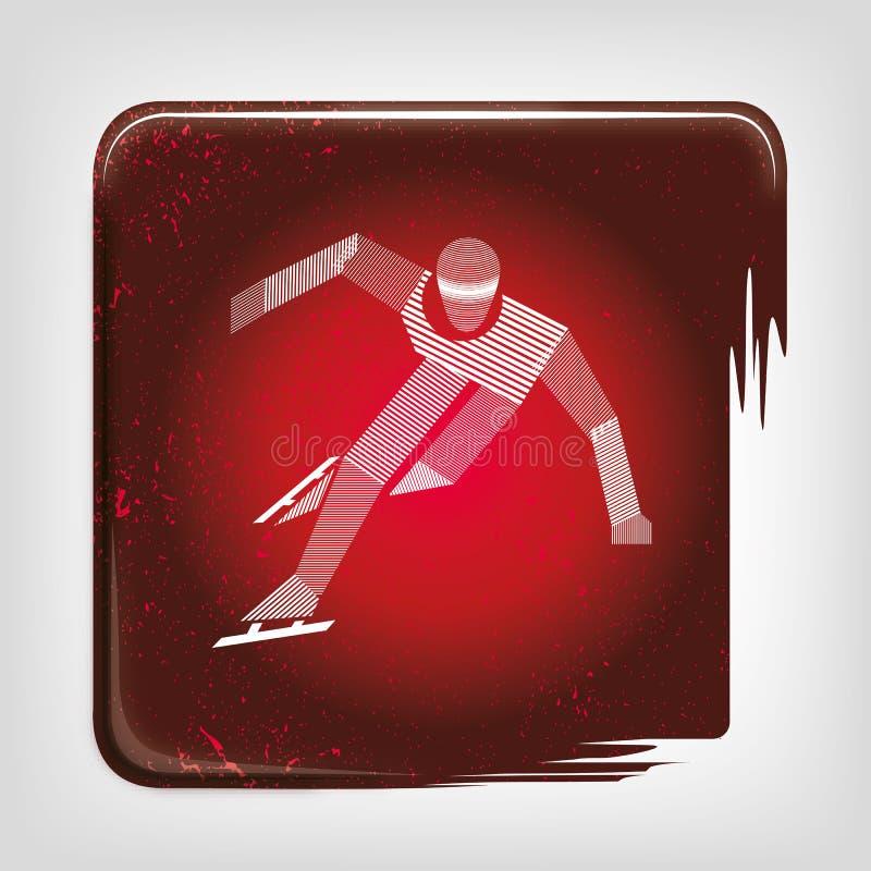 Speed skating stripy icon stock illustration