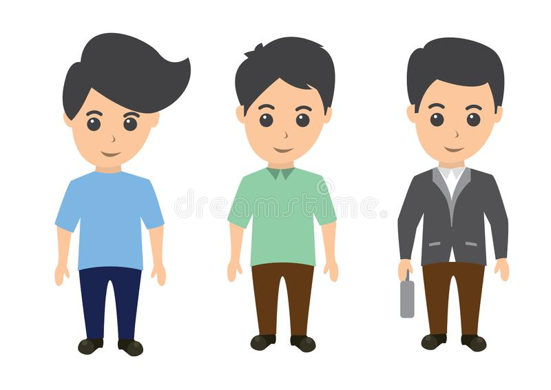 Illustration of male characters in a flat design style. Man vector clipart in pack. Illustration of businessman vector illustration