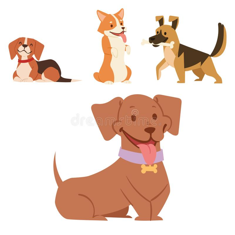 Illustration mammifère heureuse comique de race drôle jouante mignonne de vecteur de race de chienchien de caractères de chiens d illustration libre de droits