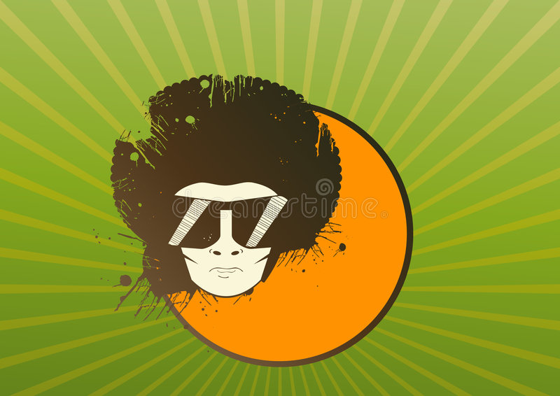 Illustration of man with afro stock illustration