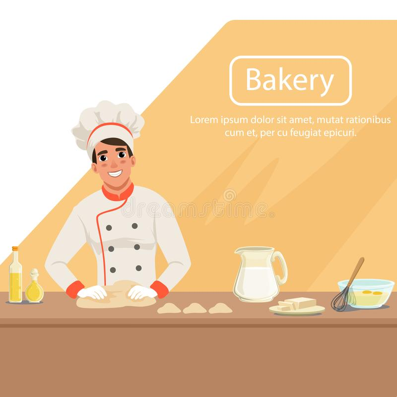 Illustration with man baker character kneading dough on the table with products. Male in uniform, chef s hat and apron stock illustration