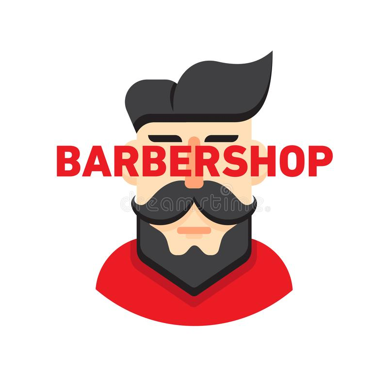 Illustration of a man with a beard and mustache, for barbershop or male hairdresser vector illustration