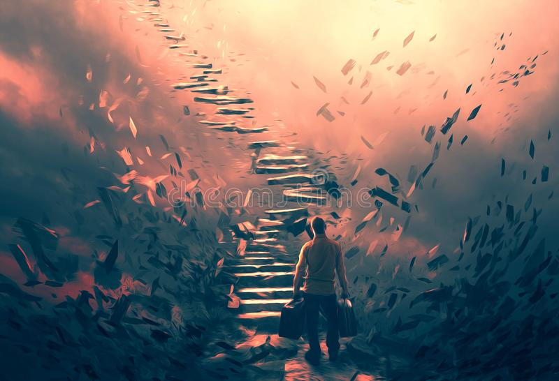 Illustration of a man and dangerous stairs. A man attempting to climb up a set of dangerous stairs vector illustration