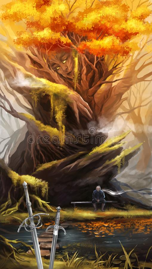 Illustration of a man after a fight sitting near a tree vector illustration