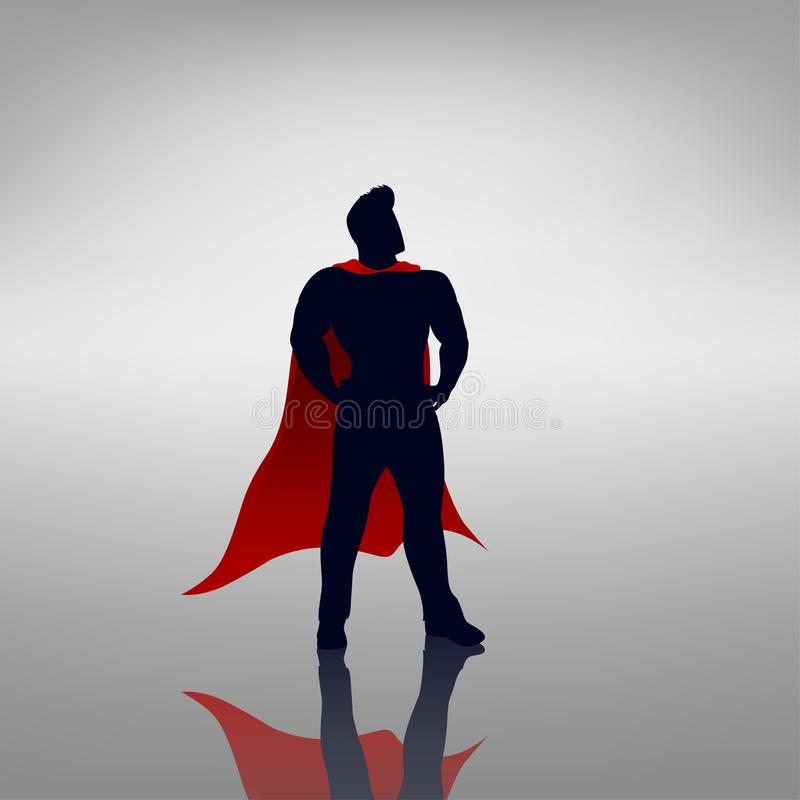 Hero with red cape. Illustration of man hero with red cape in heroic pose with reflection on bright background vector illustration