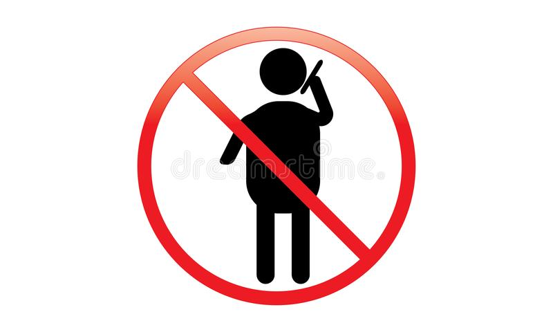 Man And Phone - Off Mobile Sign - Switch Off Phone Icon - No Phone Allowed Mobile Warning Symbol royalty free illustration