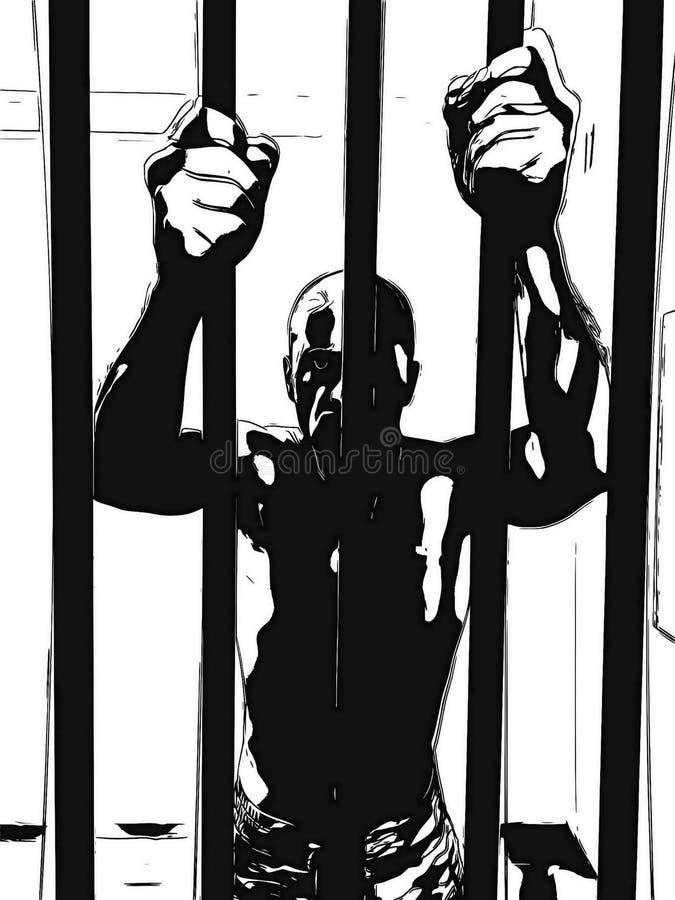 Illustration of man in jail with hands holding prison bars. Prisoner captive criminal behind bars vector illustration