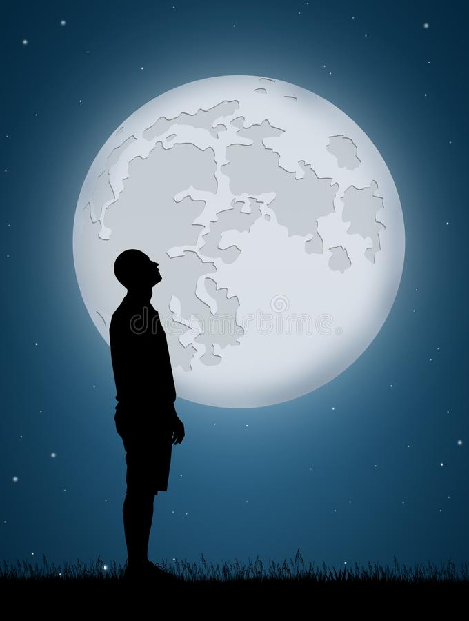 Man look the moon. Illustration of man look the moon royalty free illustration