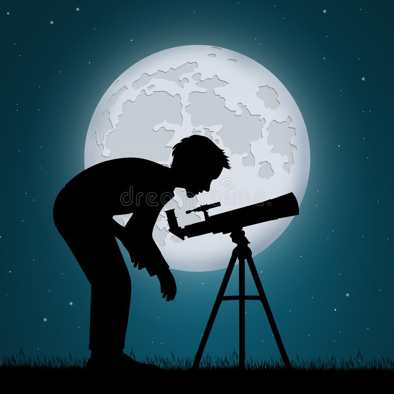 Man look the sky in the telescope. Illustration of man look the sky in the telescope vector illustration