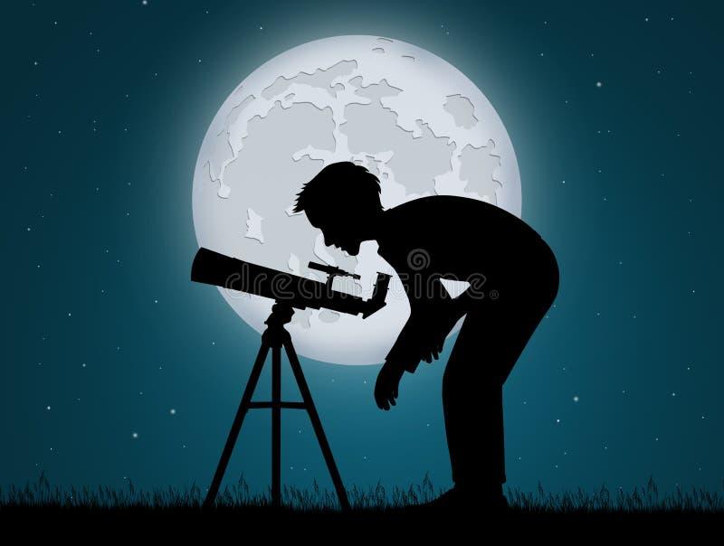 Man look in the telescope. Illustration of man look in the telescope stock illustration