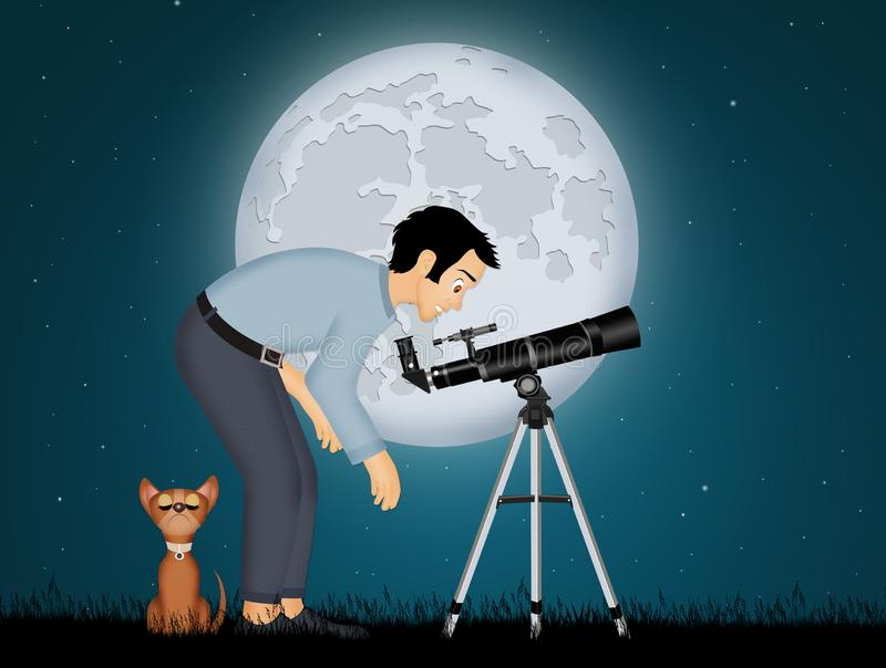 Man look in the telescope. Illustration of man look in the telescope vector illustration