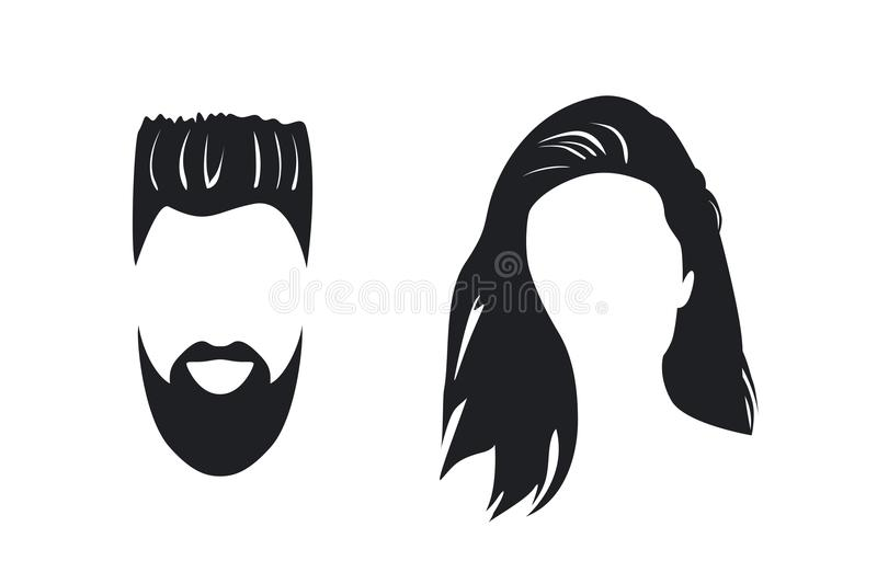 Man and woman face silhouette vector illustration