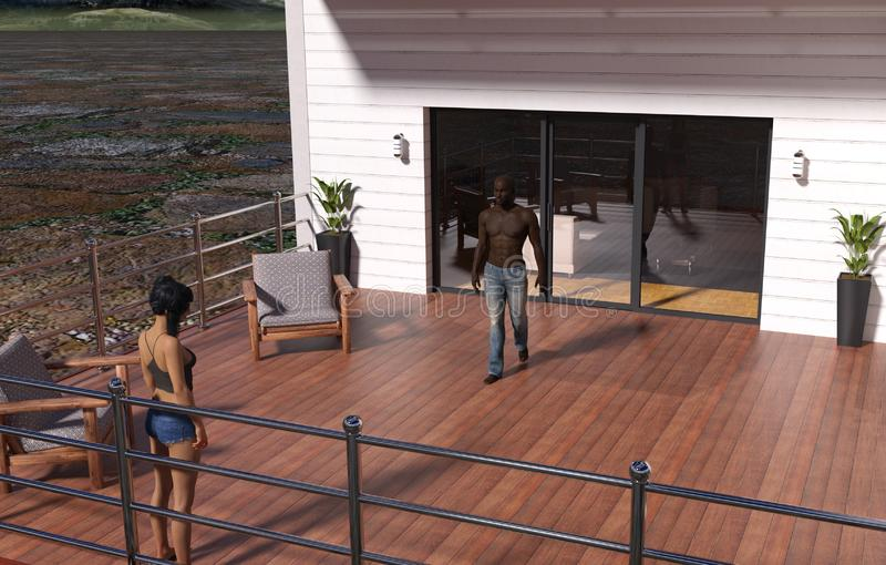 Illustration of a man and woman on a house deck with the man walking toward the woman stock illustration