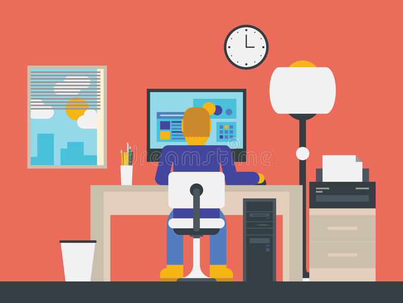 Illustration Of A Manager Working In The Office Stock Photography