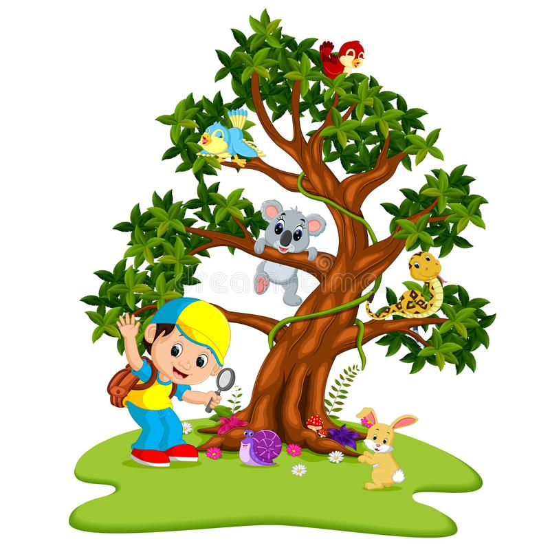 Many animals on the trees with boys holding magnifying glass stock illustration