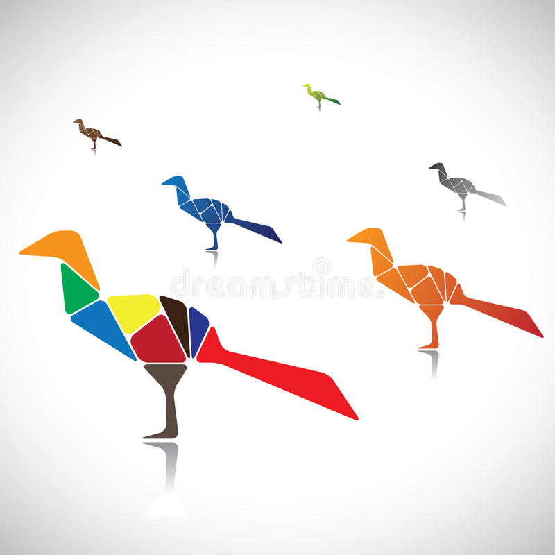 Illustration of a many colorful birds together