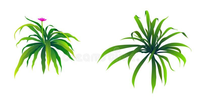 Illustration of many green shrubs. stock illustration