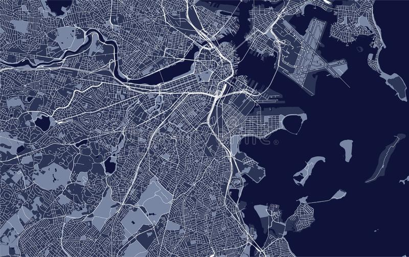 Map of the city of Boston, USA stock illustration