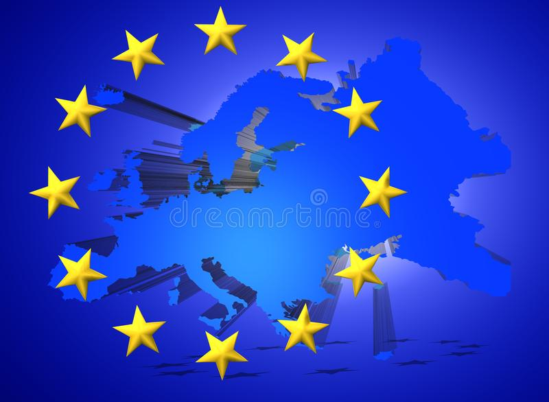 Illustration of a map of European union and EU flag illustration royalty free illustration