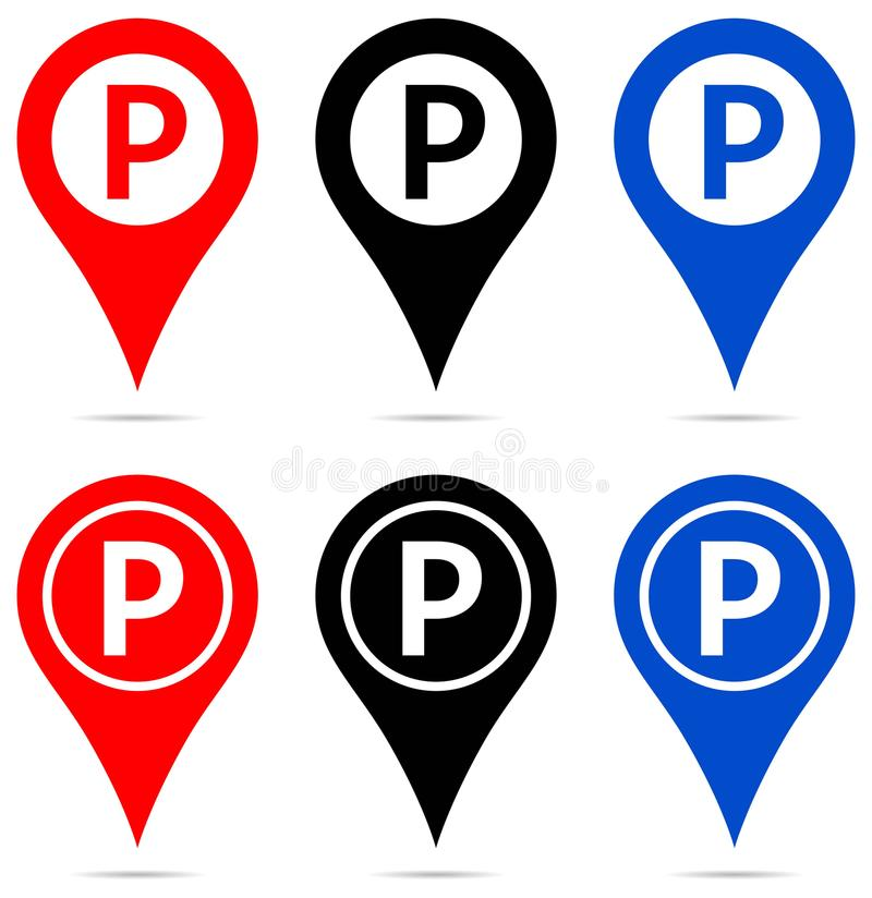 Map pointer with parking sign icons. Illustration of map pointer with parking sign icons on white background stock illustration