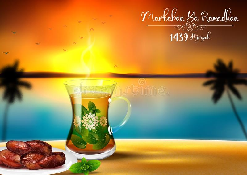 Marhaban ya Ramadhan. Iftar party celebration with traditional tea cup and a bowl of dates in sunset beach background. Illustration of Marhaban ya Ramadhan royalty free illustration