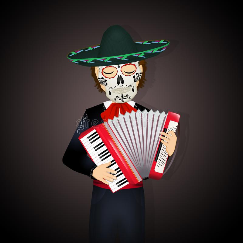 Mariachi with accordion and dead mask vector illustration