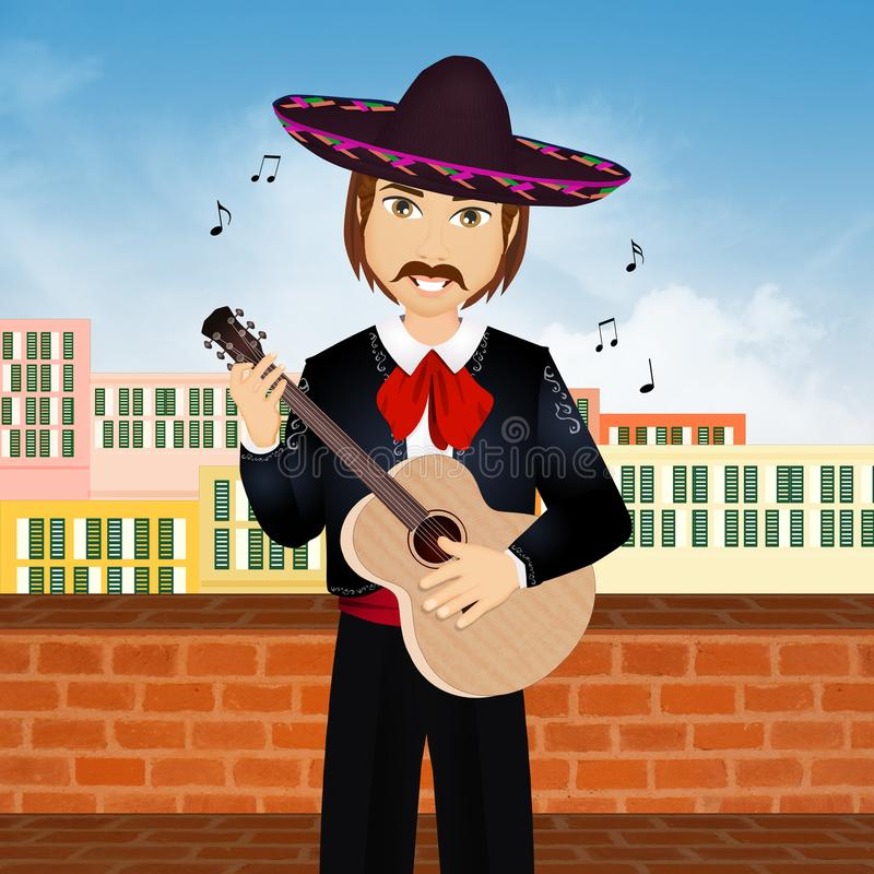 Mariachi with guitar. Illustration of Mariachi with guitar royalty free illustration