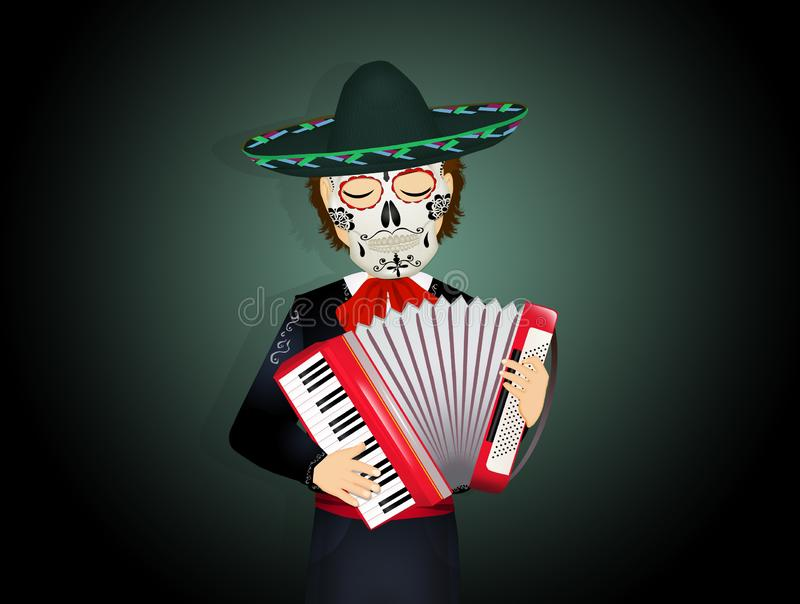Mariachi with mask of the skull on the day of death vector illustration