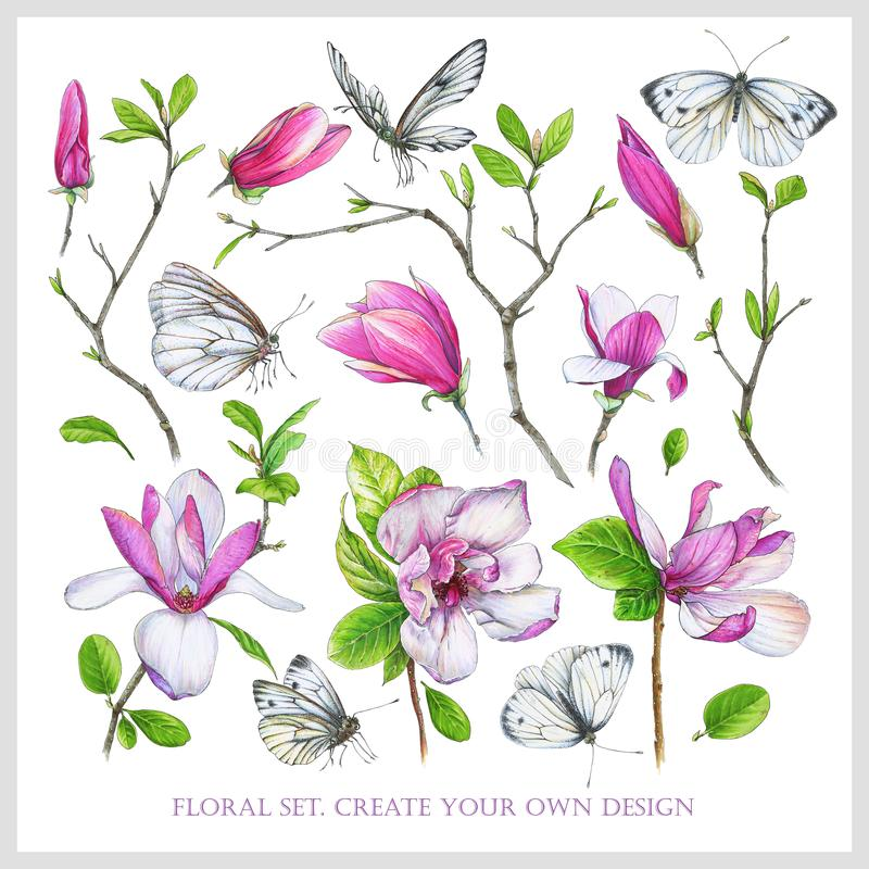 Floral set with pink magnolia, twigs with leaves and white butterflies. vector illustration