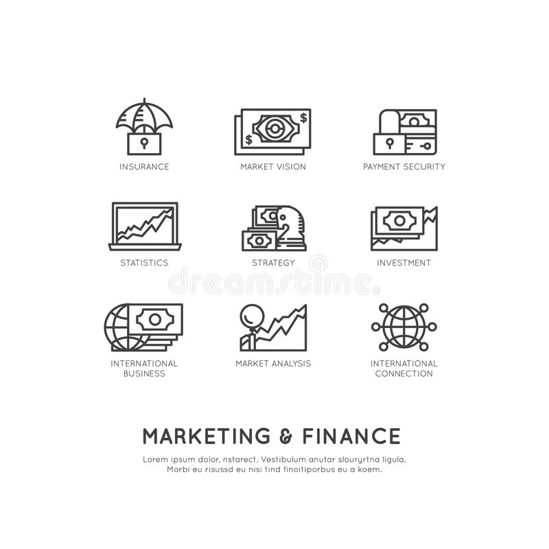 Illustration of Marketing and Finance, Business Vision, Investment, Management Process, Finance Job, Income, Revenue Source stock illustration
