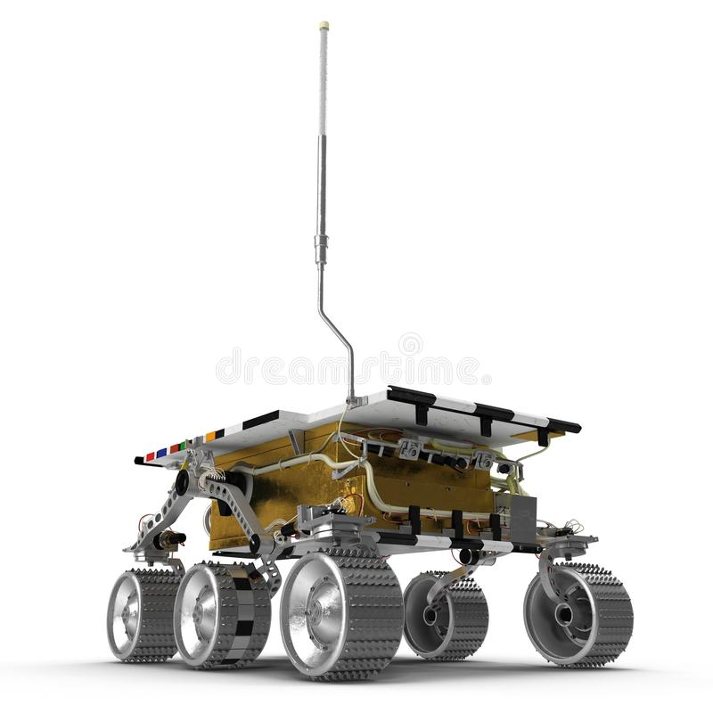 Illustration Mars Rover Sojourner 3D auf weißem Hintergrund lizenzfreie abbildung