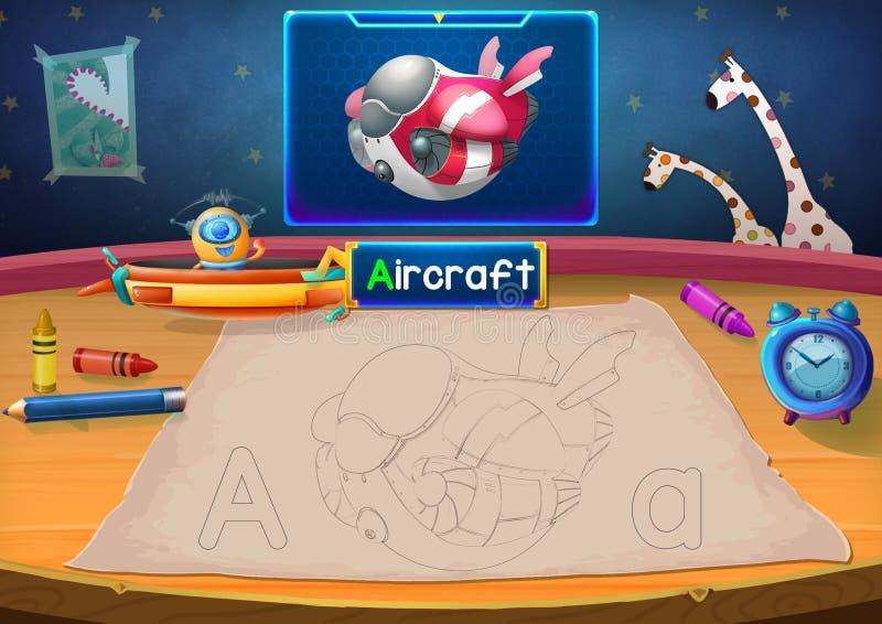 Illustration : Martian Class : A - avion Le Martien dans cette photo ouvre une classe pour tous les étrangers illustration libre de droits