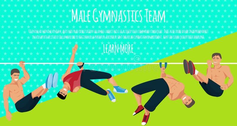 Illustration masculine de vecteur de banni?re d'?quipe de gymnastique Gymnastique concurrentiel Barre horizontale Barres parall?l illustration stock