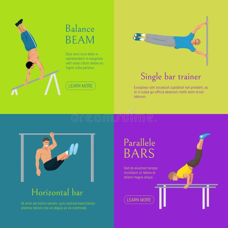 Illustration masculine de vecteur de banni?re de gymnaste Gymnastique concurrentiel Barre horizontale Barres parall?les Faisceau  illustration libre de droits