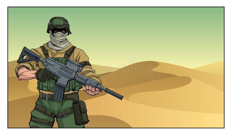 Soldier in Desert. Illustration of masked soldier on a mission in the desert royalty free illustration