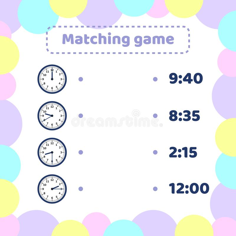 Matching game for kids preschool and school age. What time is it round watch. stock illustration