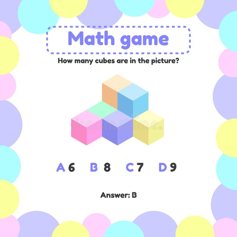 Illustration. Mathematical logic game for preschool and school age children. How many cubes in the picture. Vector illustration. Mathematical logic game for stock illustration